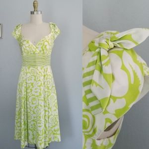 Nanette lepore lime floral silk midi dress